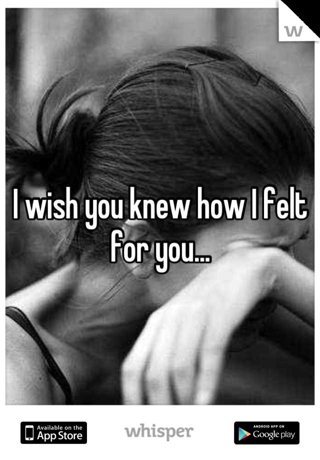 I wish you knew how I felt for you...