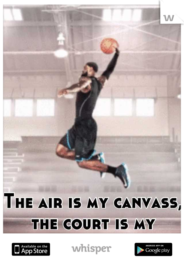 The air is my canvass, the court is my thrown.
