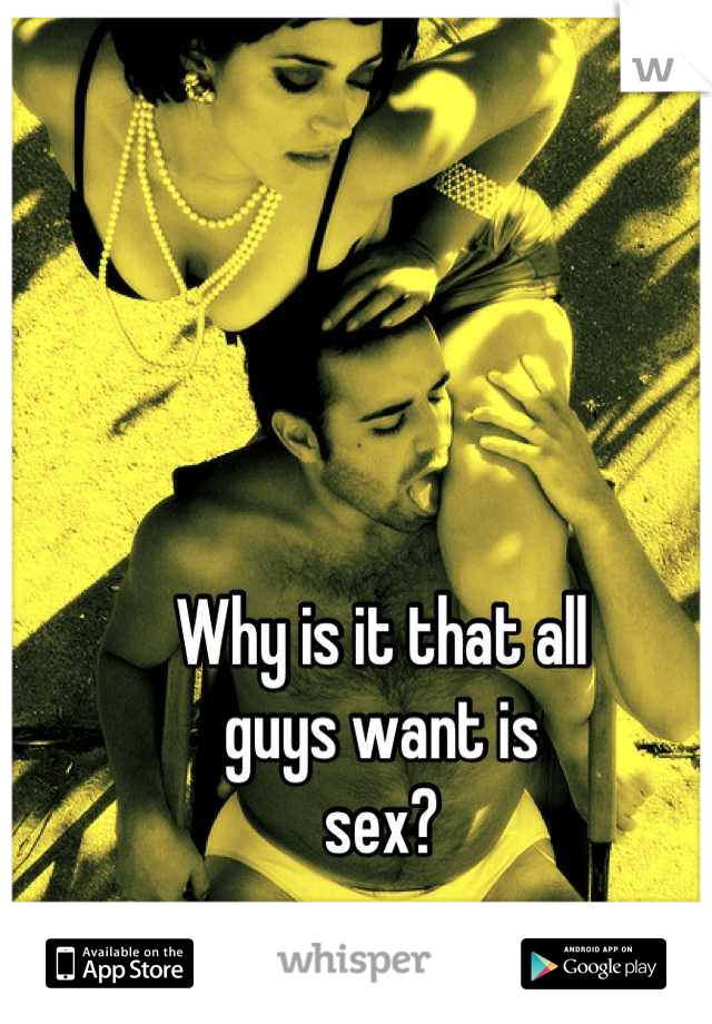 Why is it that all  guys want is  sex?