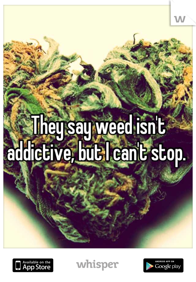 They say weed isn't addictive, but I can't stop.