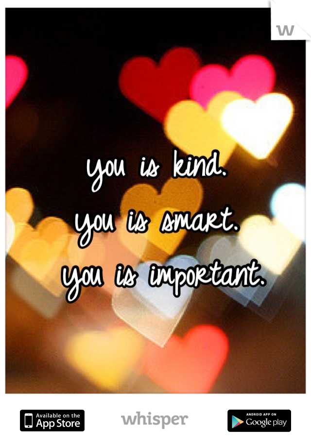 you is kind.  you is smart.    you is important.