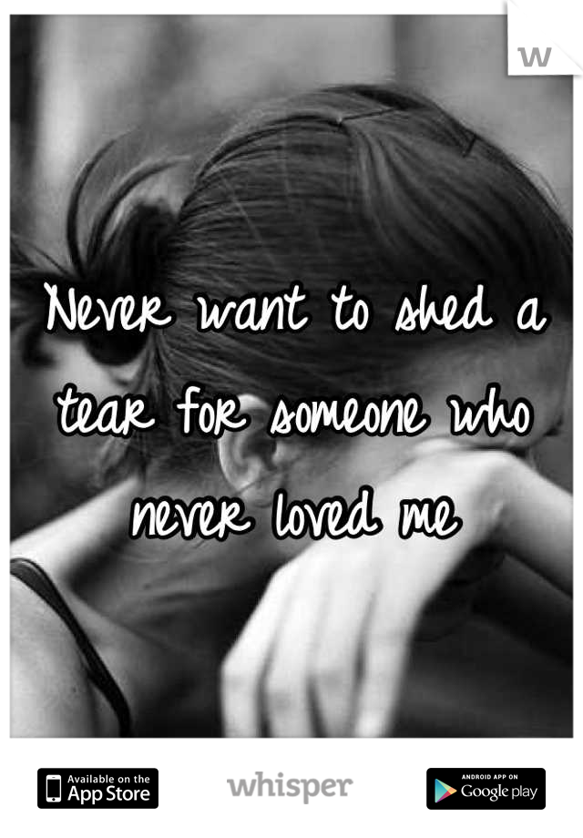 Never want to shed a tear for someone who never loved me