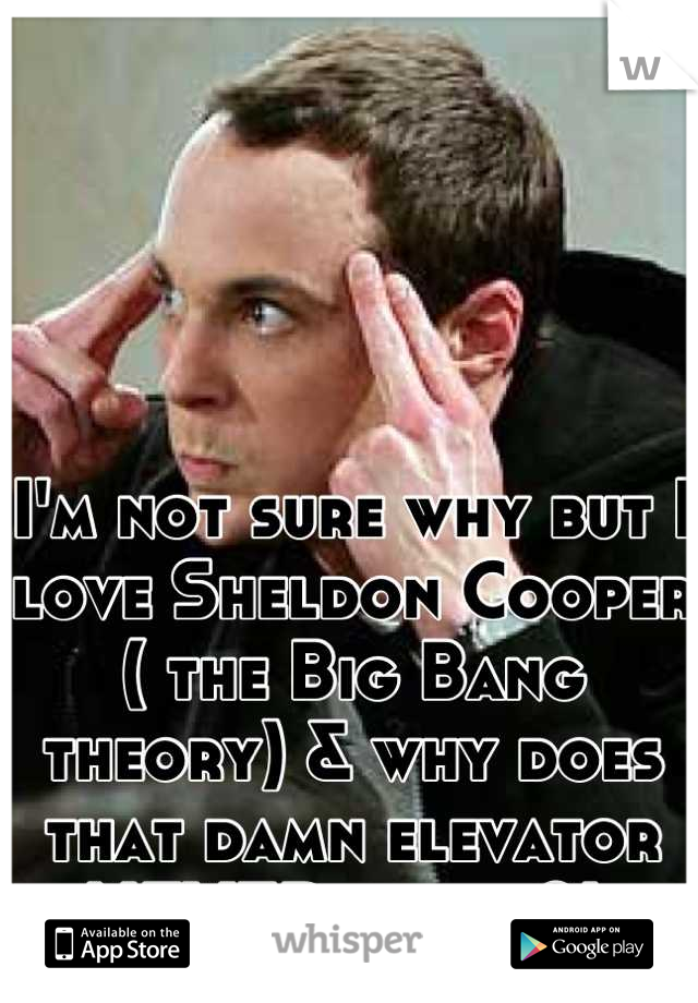 I'm not sure why but I love Sheldon Cooper ( the Big Bang theory) & why does that damn elevator NEVER work ?!