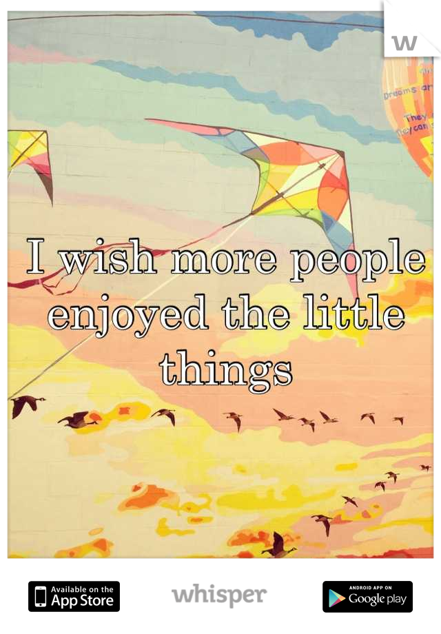 I wish more people enjoyed the little things