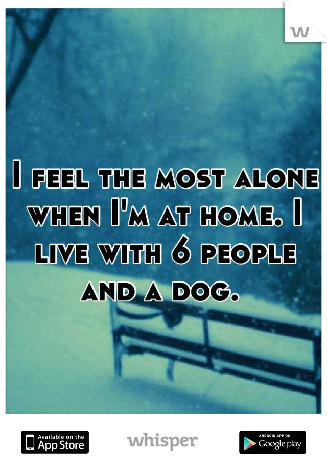I feel the most alone when I'm at home. I live with 6 people and a dog.