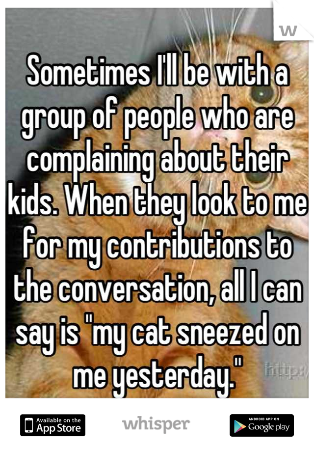 """Sometimes I'll be with a group of people who are complaining about their kids. When they look to me for my contributions to the conversation, all I can say is """"my cat sneezed on me yesterday."""""""