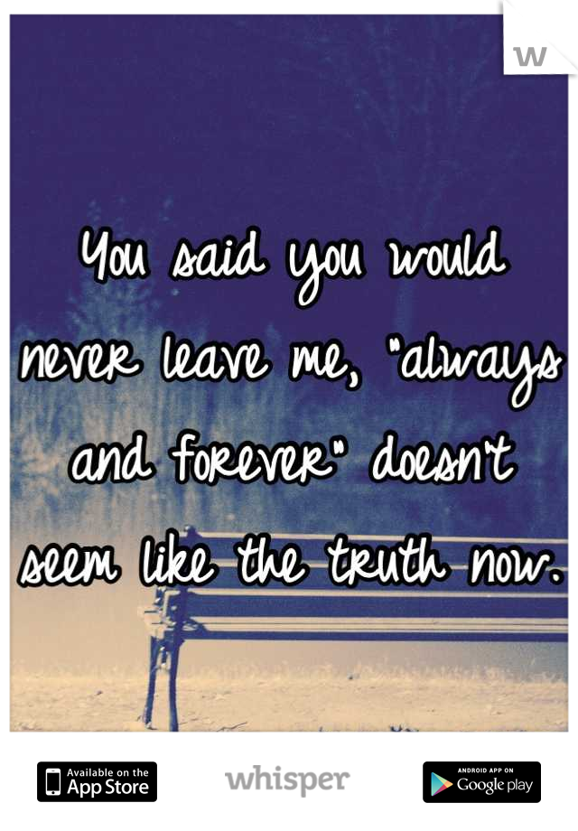 "You said you would never leave me, ""always and forever"" doesn't seem like the truth now."