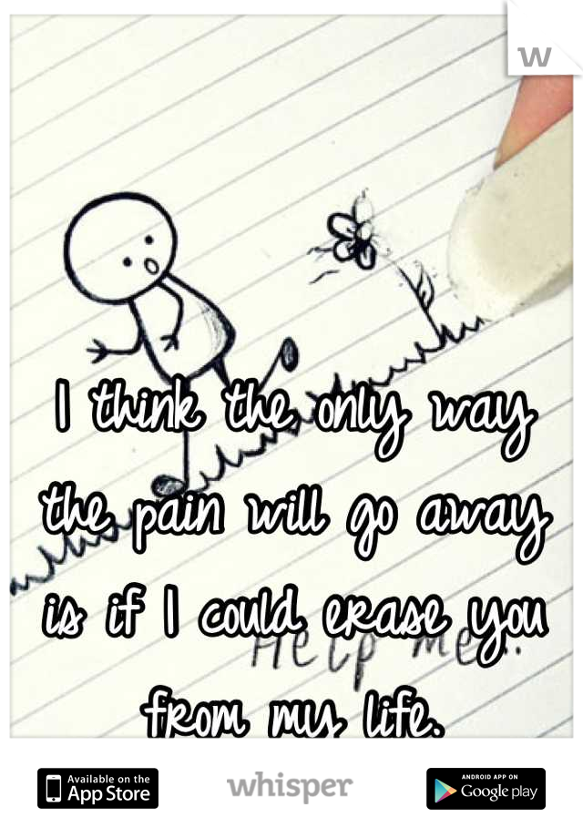 I think the only way the pain will go away is if I could erase you from my life.