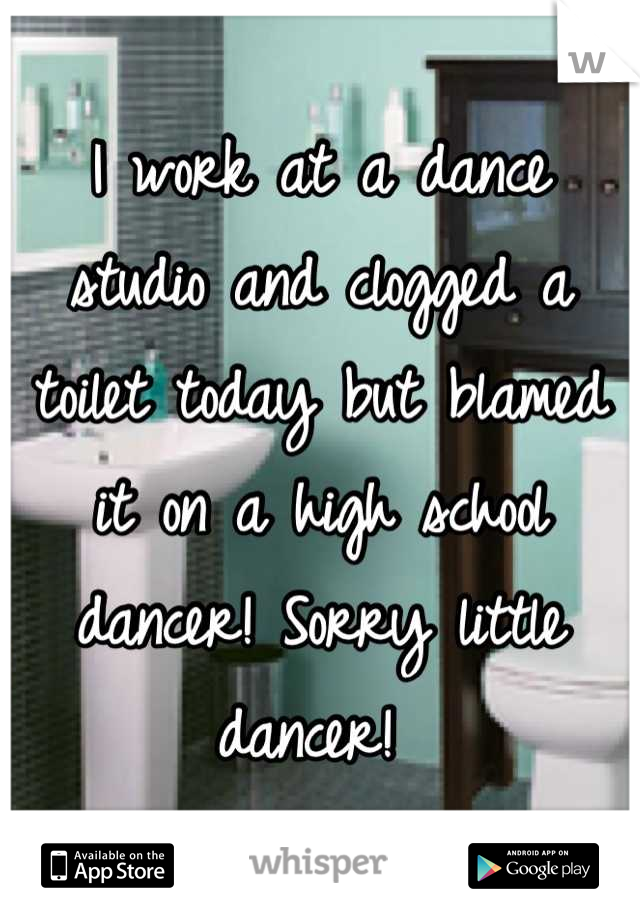 I work at a dance studio and clogged a toilet today but blamed it on a high school dancer! Sorry little dancer!