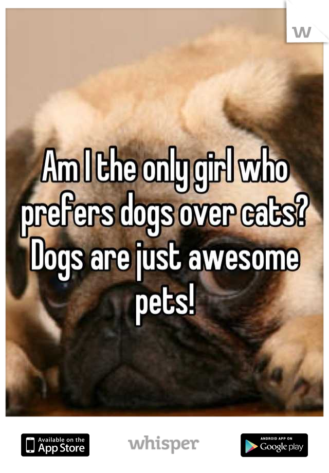 Am I the only girl who prefers dogs over cats? Dogs are just awesome pets!
