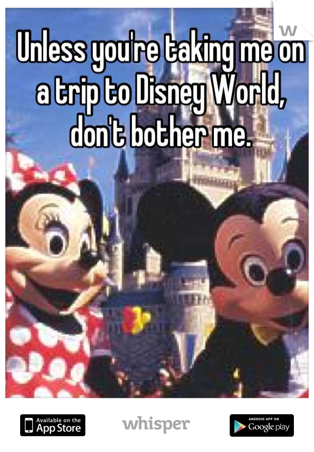 Unless you're taking me on a trip to Disney World, don't bother me.