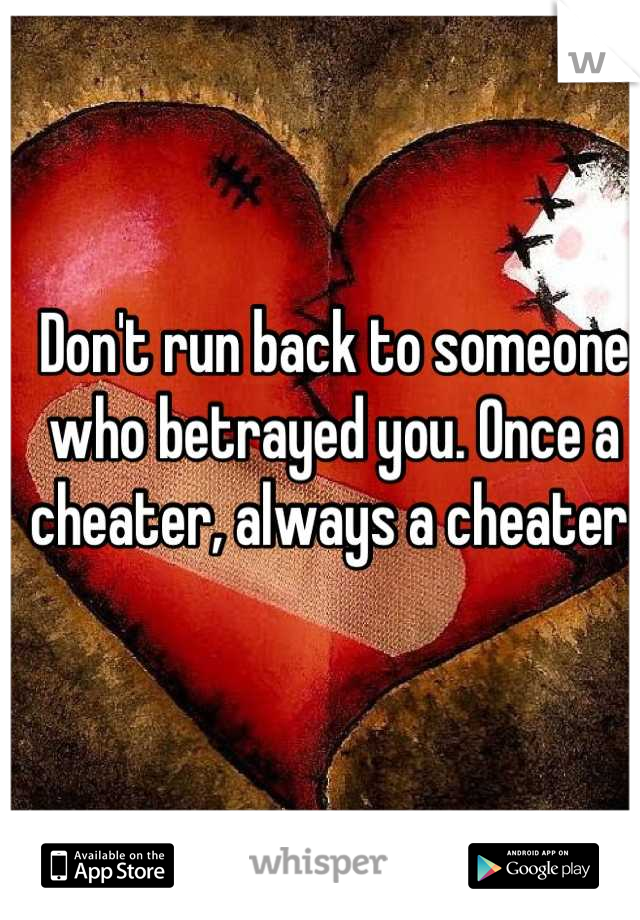 Don't run back to someone who betrayed you. Once a cheater, always a cheater.