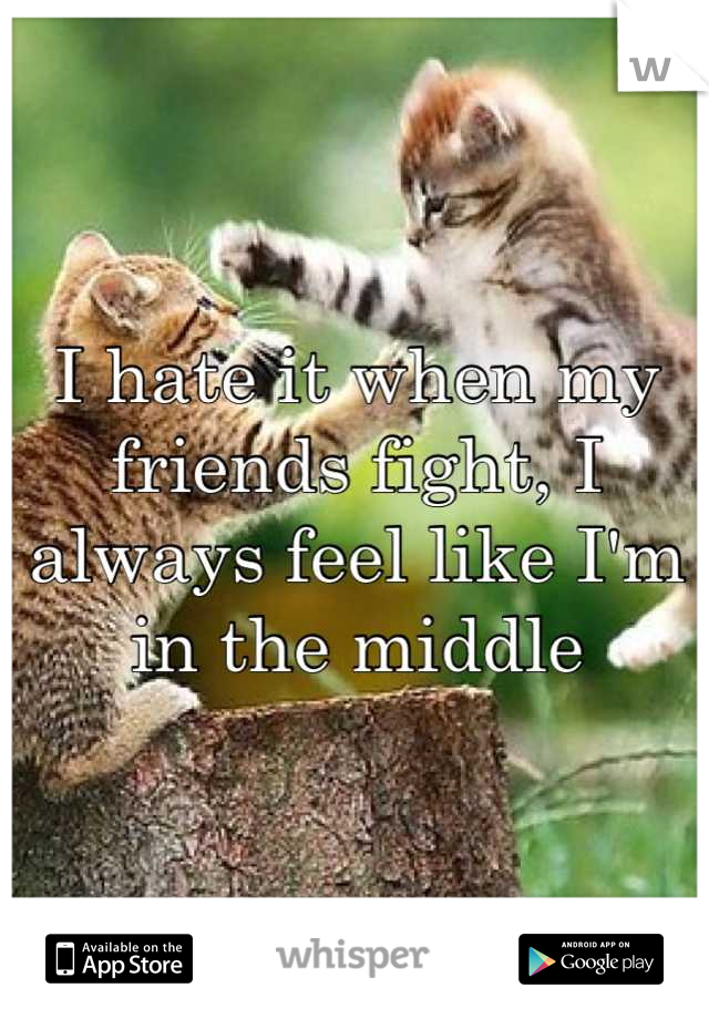 I hate it when my friends fight, I always feel like I'm in the middle