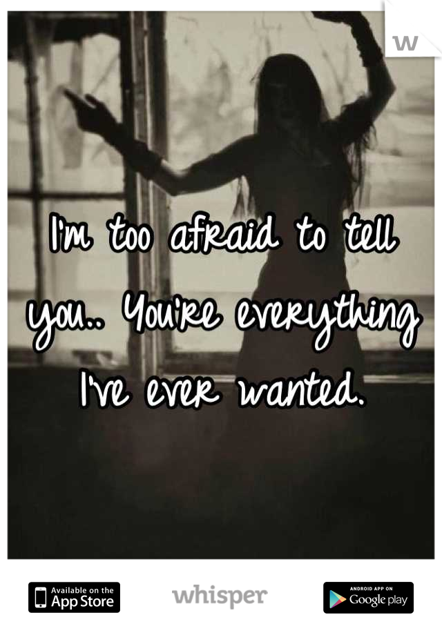 I'm too afraid to tell you.. You're everything I've ever wanted.