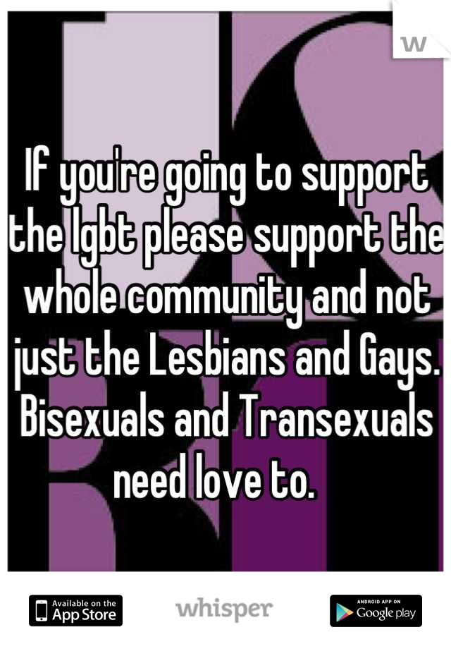 If you're going to support the lgbt please support the whole community and not just the Lesbians and Gays. Bisexuals and Transexuals need love to.