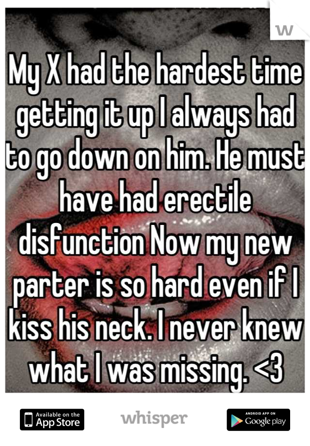 My X had the hardest time getting it up I always had to go down on him. He must have had erectile disfunction Now my new parter is so hard even if I kiss his neck. I never knew what I was missing. <3