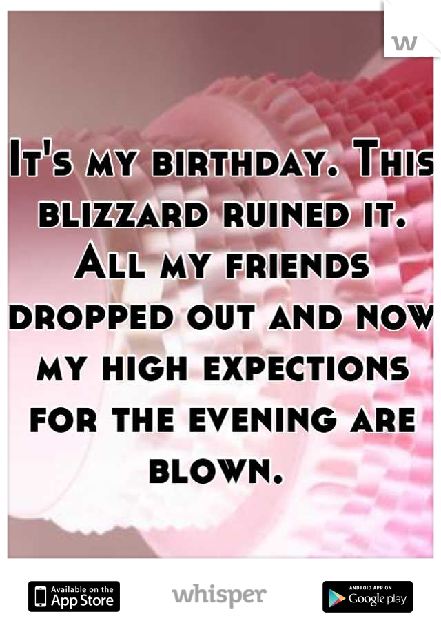 It's my birthday. This blizzard ruined it. All my friends dropped out and now my high expections for the evening are blown.
