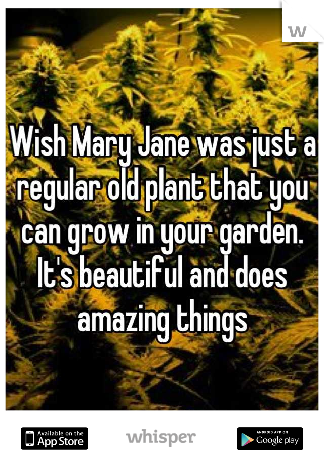 Wish Mary Jane was just a regular old plant that you can grow in your garden. It's beautiful and does amazing things