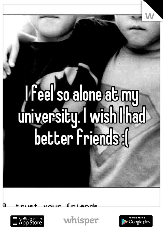 I feel so alone at my university. I wish I had better friends :(