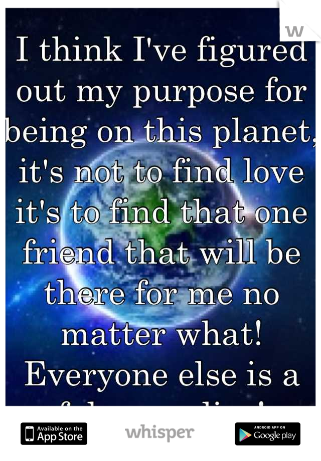 I think I've figured out my purpose for being on this planet, it's not to find love it's to find that one friend that will be there for me no matter what! Everyone else is a fake or a liar!
