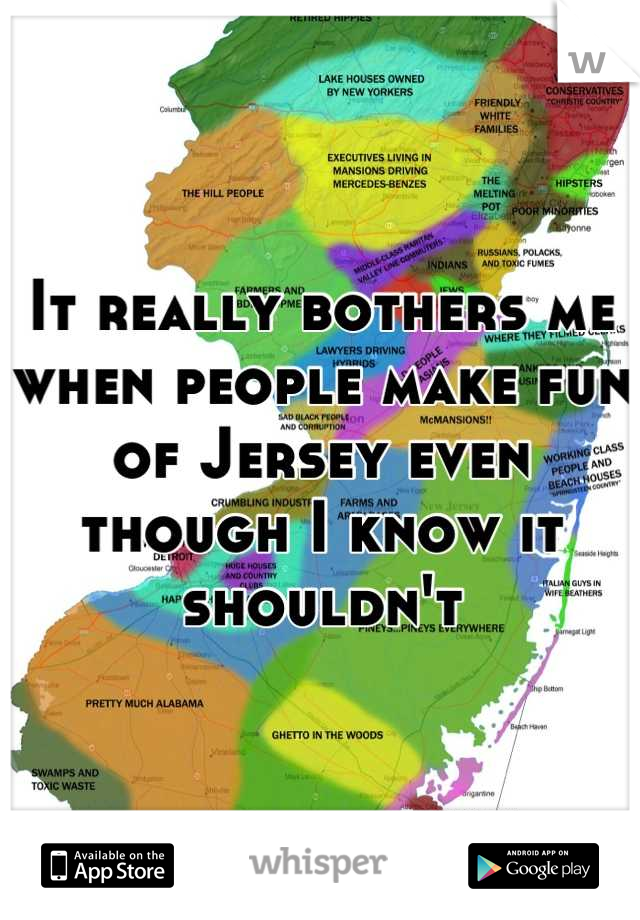 It really bothers me when people make fun of Jersey even though I know it shouldn't