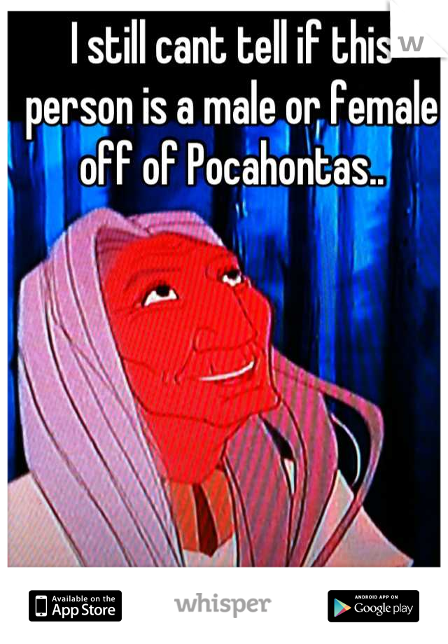 I still cant tell if this person is a male or female off of Pocahontas..