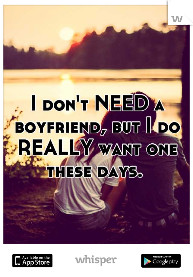 I don't NEED a boyfriend, but I do REALLY want one these days.