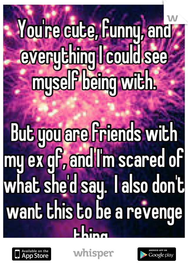 You're cute, funny, and everything I could see myself being with.   But you are friends with my ex gf, and I'm scared of what she'd say.  I also don't want this to be a revenge thing.