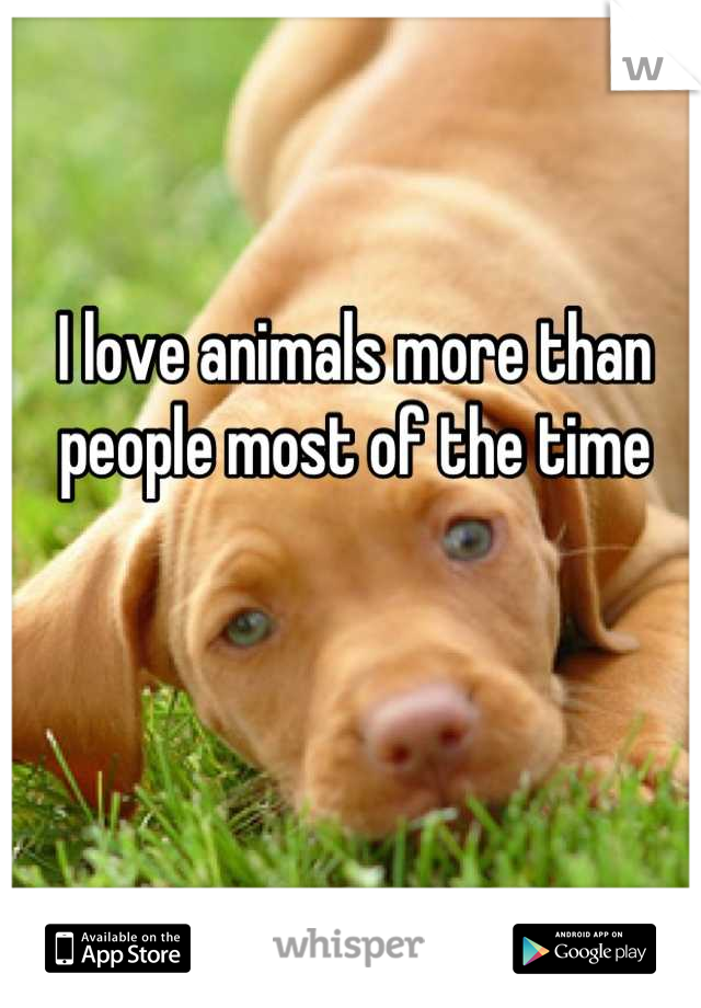 I love animals more than people most of the time