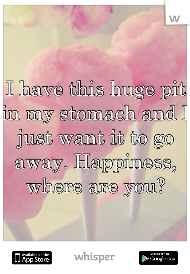 I have this huge pit in my stomach and I just want it to go away. Happiness, where are you?