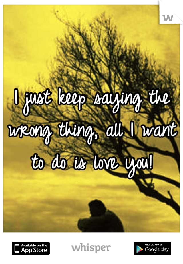 I just keep saying the wrong thing, all I want to do is love you!