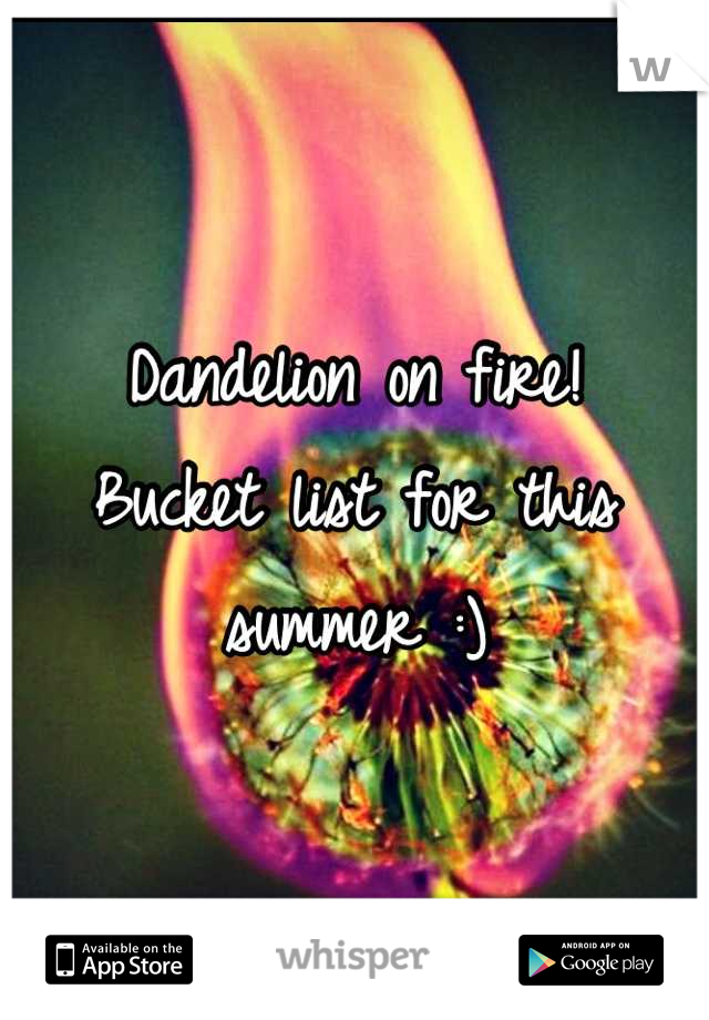 Dandelion on fire!  Bucket list for this summer :)