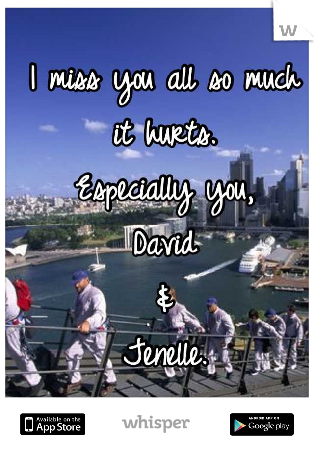 I miss you all so much it hurts. Especially you, David & Jenelle.