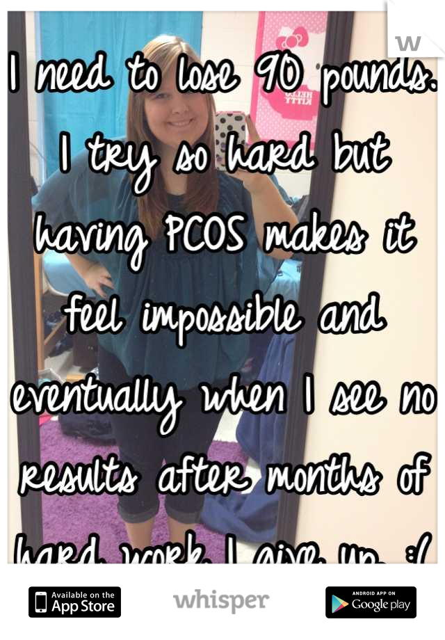 I need to lose 90 pounds. I try so hard but having PCOS makes it feel impossible and eventually when I see no results after months of hard work I give up. :(