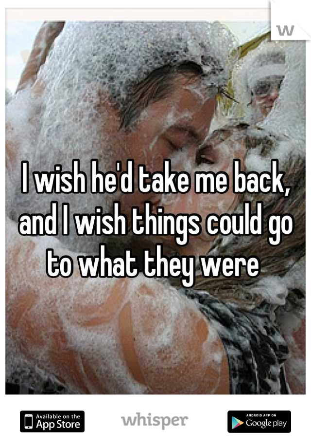 I wish he'd take me back, and I wish things could go to what they were