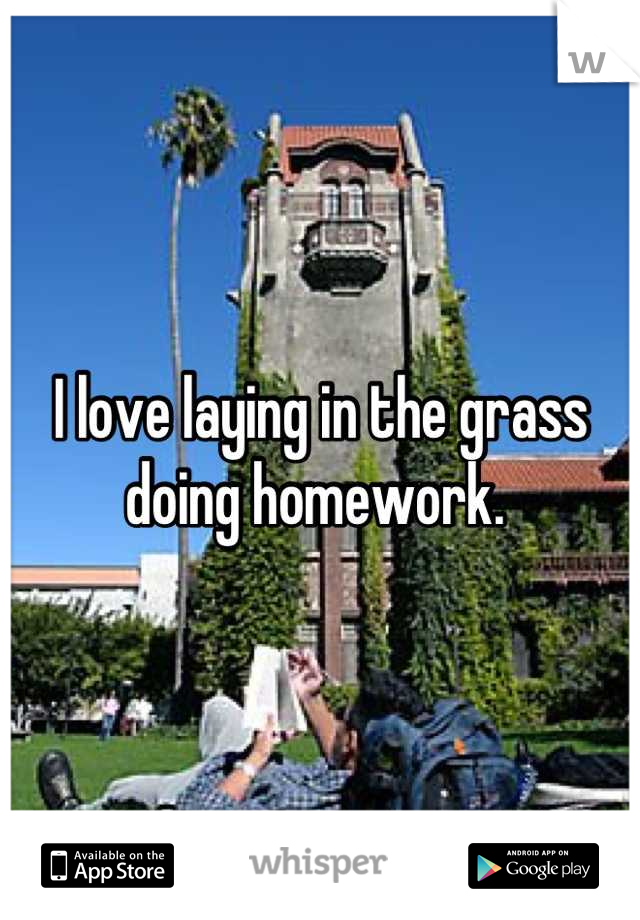 I love laying in the grass doing homework.