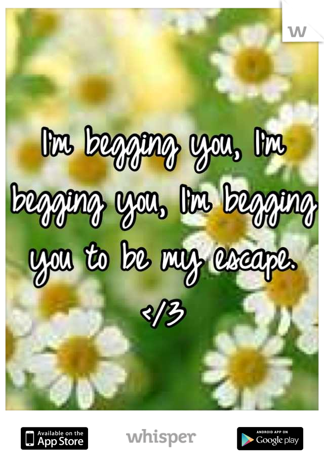 I'm begging you, I'm begging you, I'm begging you to be my escape. </3