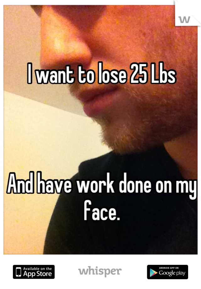 I want to lose 25 Lbs    And have work done on my face.