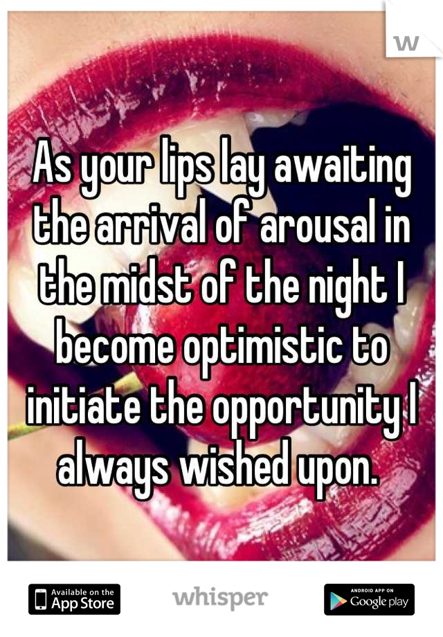 As your lips lay awaiting the arrival of arousal in the midst of the night I become optimistic to initiate the opportunity I always wished upon.