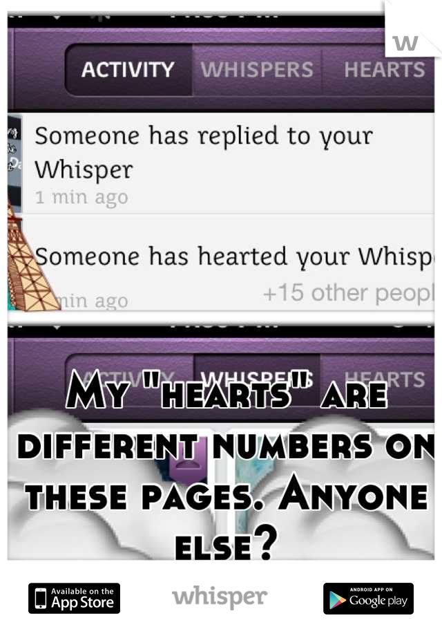 """My """"hearts"""" are different numbers on these pages. Anyone else?"""