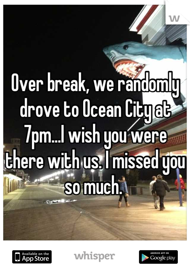 Over break, we randomly drove to Ocean City at 7pm...I wish you were there with us. I missed you so much.