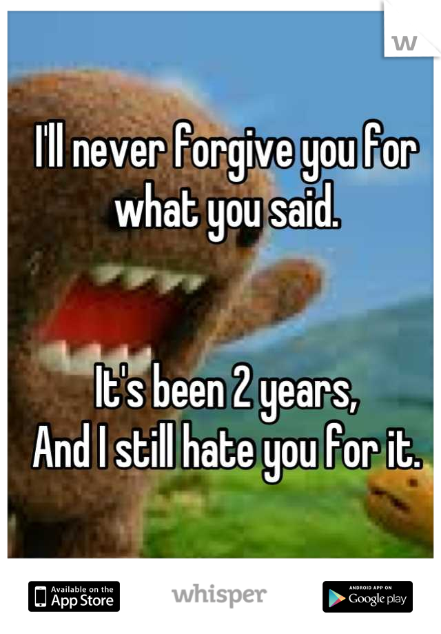 I'll never forgive you for what you said.   It's been 2 years, And I still hate you for it.