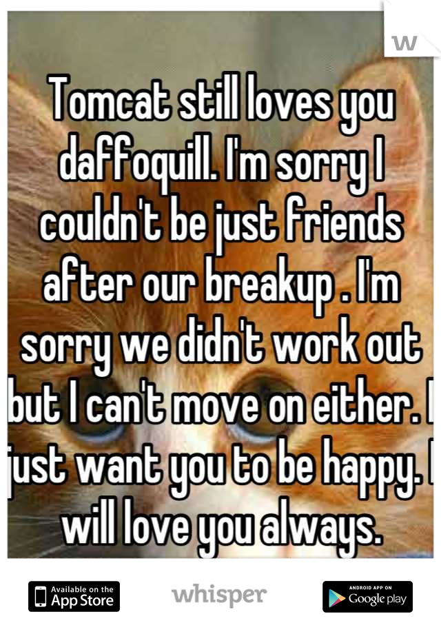 Tomcat still loves you daffoquill. I'm sorry I couldn't be just friends after our breakup . I'm sorry we didn't work out but I can't move on either. I just want you to be happy. I will love you always.