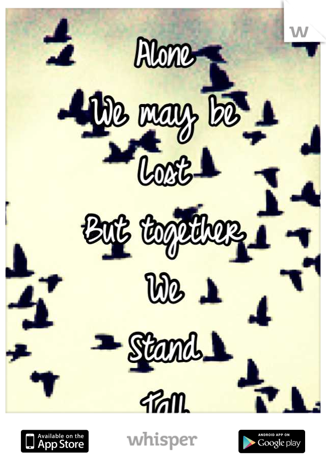 Alone We may be Lost But together We Stand Tall