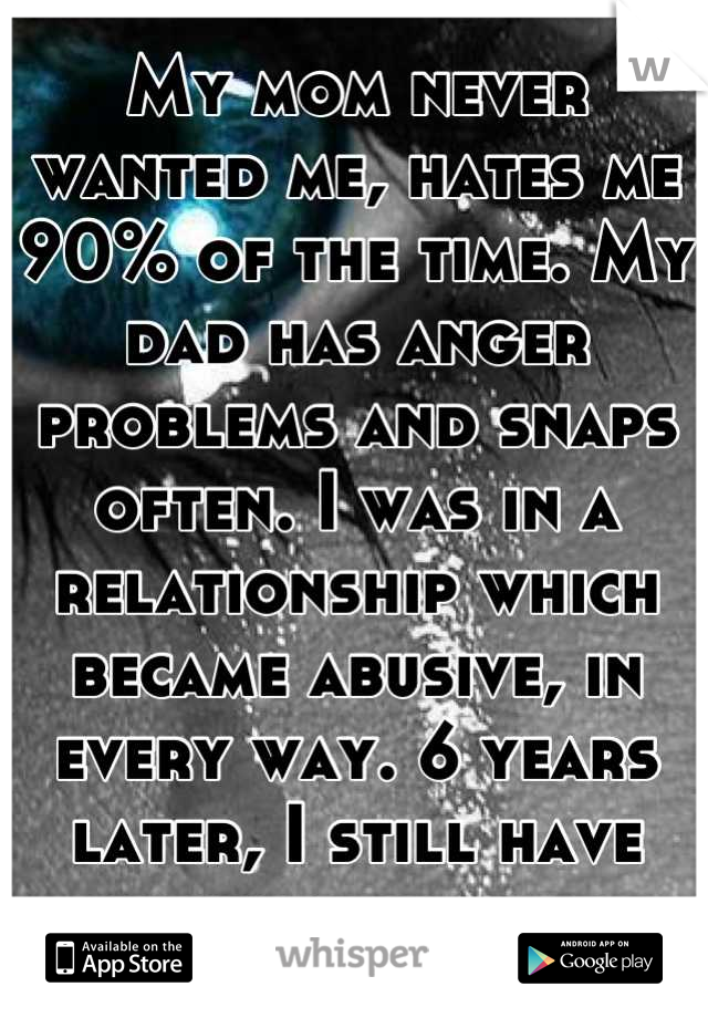 My mom never wanted me, hates me 90% of the time. My dad has anger problems and snaps often. I was in a relationship which became abusive, in every way. 6 years later, I still have nightmares of it.