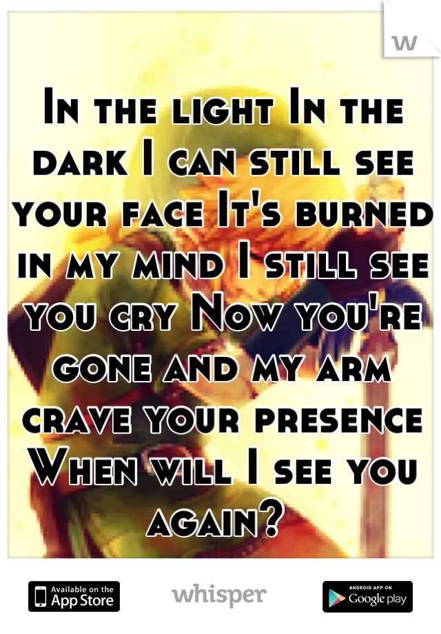In the light In the dark I can still see your face It's burned in my mind I still see you cry Now you're gone and my arm crave your presence When will I see you again?