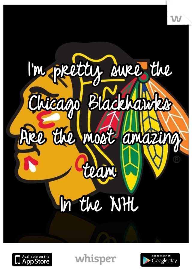 I'm pretty sure the Chicago Blackhawks Are the most amazing team In the NHL