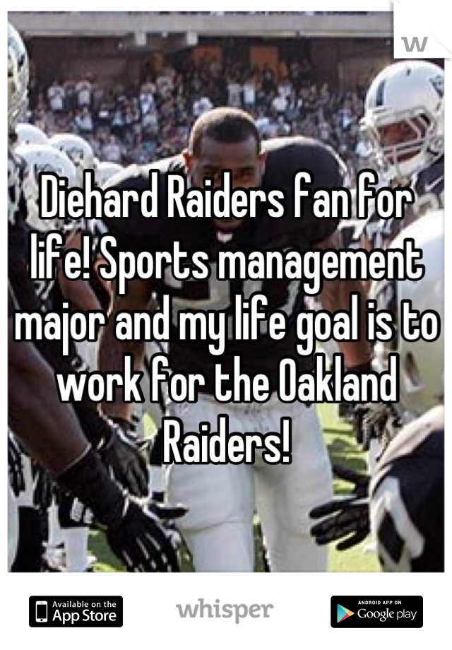 Diehard Raiders fan for life! Sports management major and my life goal is to work for the Oakland Raiders!