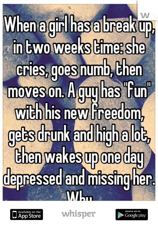 """When a girl has a break up, in two weeks time: she cries, goes numb, then moves on. A guy has """"fun"""" with his new freedom, gets drunk and high a lot, then wakes up one day depressed and missing her. Why"""