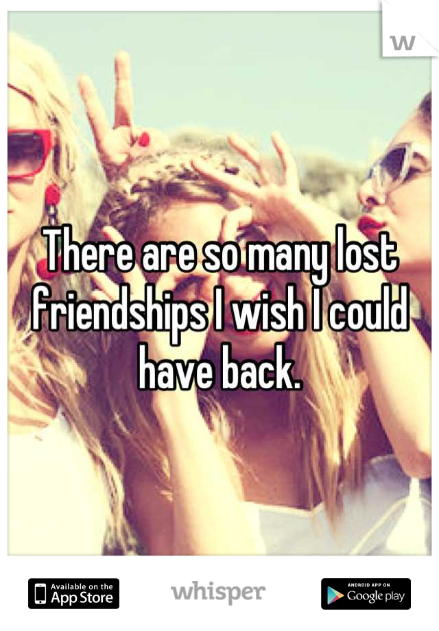 There are so many lost friendships I wish I could have back.
